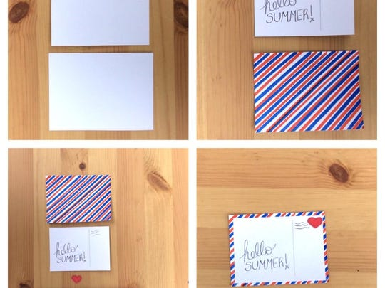 "To make a little postcard for a photo book, cut two rectangles from white card stock, one at 4-by-3 inches and the other a fourth smaller. Using a ruler, draw diagonal lines on the bigger sheet with a blue and red markers. On the other rectangle, write ""Hello Summer!"" on the left side. Add a red heart as a stamp, and glue the smaller rectangle in the center of the lined card."