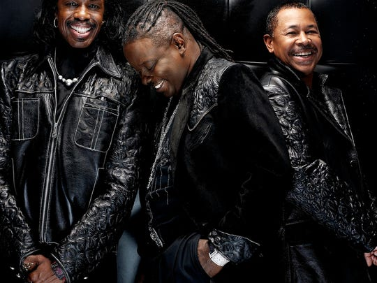 Bassist Verdine White (left) performs with Earth, Wind & Fire on May 19 at Fantasy Springs Resort Casino.