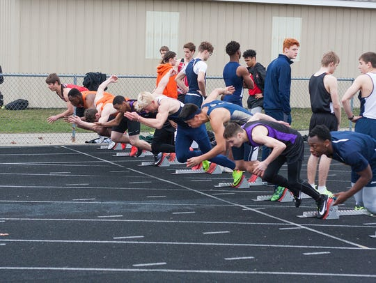 The starting line for the 100 dash at the Lakeview Invitational earlier this season.
