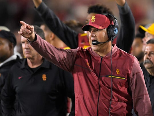 Southern California head coach Clay Helton gestures during the second half of an NCAA college football game against Arizona, Saturday, Nov. 4, 2017, in Los Angeles. USC won 49-35. (AP Photo/Mark J. Terrill)