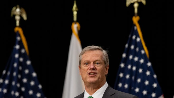 """After Gov. Charlie Baker rose to the defense of mail-in voting Thursday, and said it was """"appalling"""" for an officeholder to suggest anything other than a peaceful transfer of power, he received a Twitter jab around 7:30 a.m. Friday from President Donald Trump."""