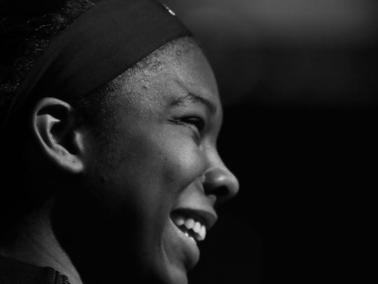 Louisville's Myisha Hines-Allen during player introductions.