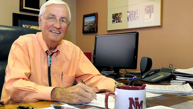 Garrey Carruthers, dean of the College of Business at New Mexico State University, is seen in April 2013 in his office on campus. Carruthers, along with a pool of four other candidates, is vying for the title of President of NMSU.