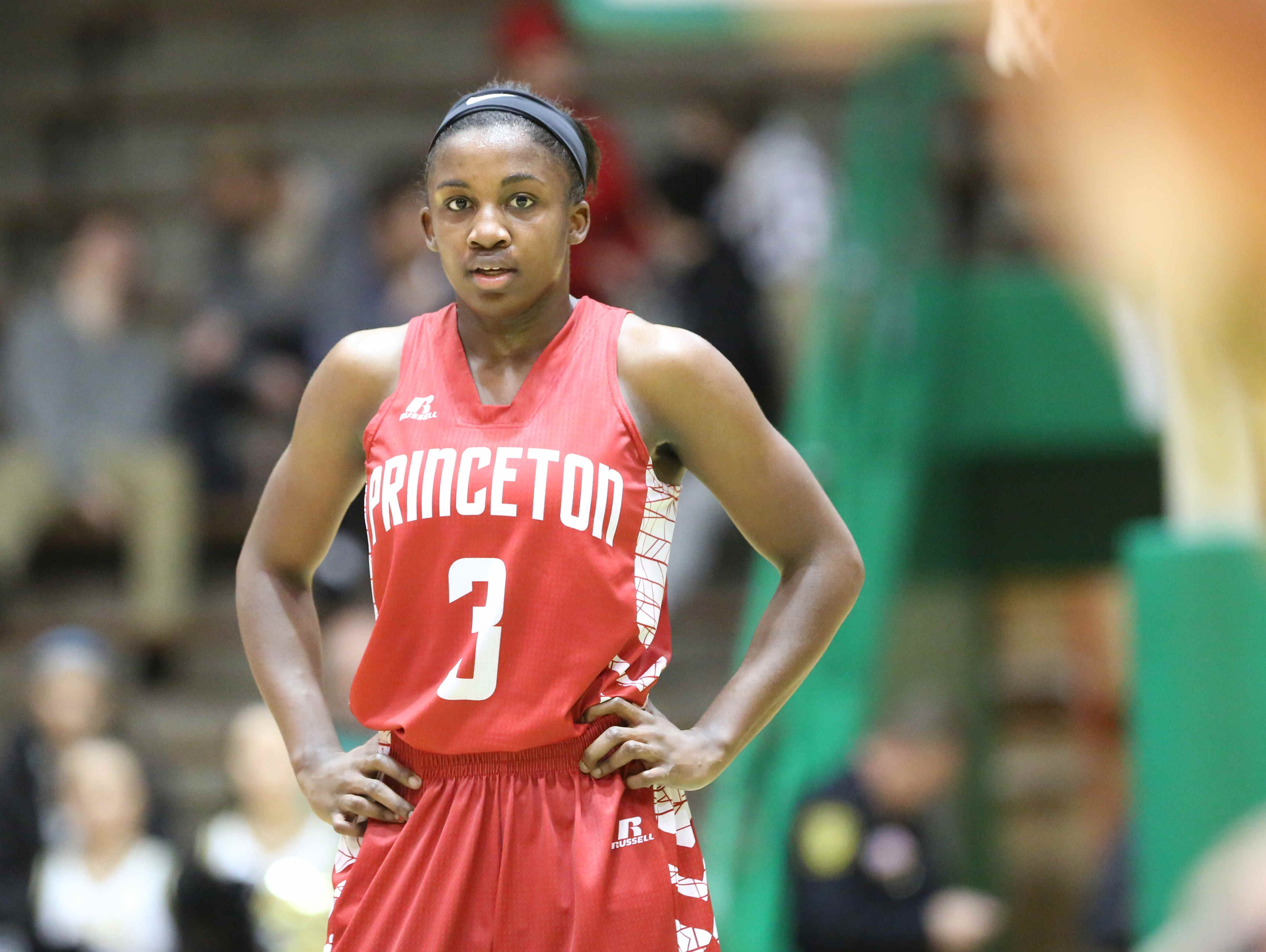 Princeton's Jackie Young watches a free throw during the High School Girls Hall of Fame Classic between Princeton and Lebanon, held at New Castle High School. Princeton was victorious, 87-63.