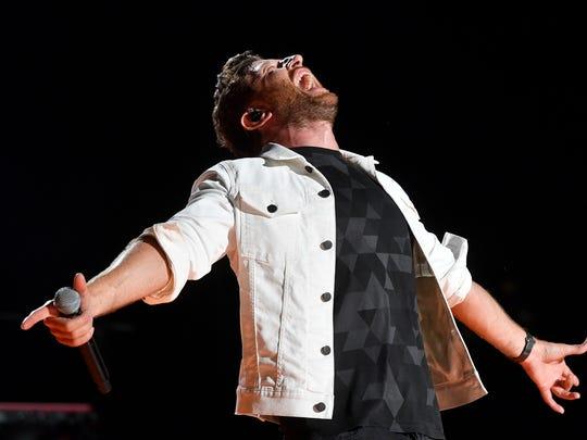 Brett Eldredge performs at the 2018 CMA Music Fest Sunday, June 10, 2018, at Nissan Stadium in Nashville, Tenn.