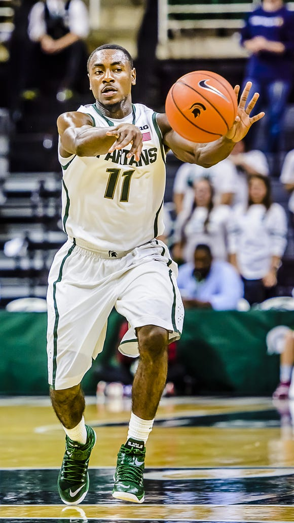 "Despite going scoreless, freshman Lourawls ""Tum Tum"" Nairn Jr. had six assists, two rebounds, a steal and a block in MSU's exhibition-opening victory over The Master's College on Monday."