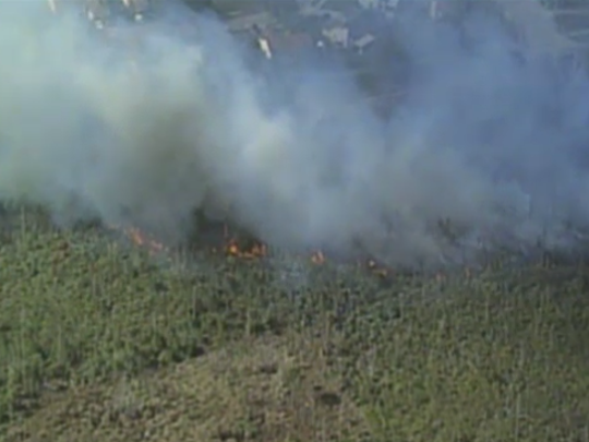 Brush fire burns in Cocoa