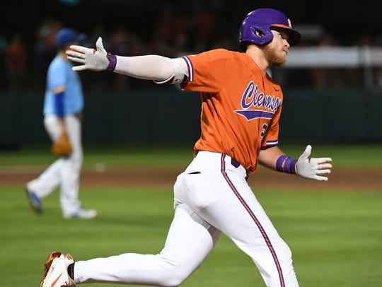 Clemson junior first baseman Seth Beer (28) hit a home