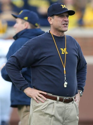 When Jim Harbaugh visits Kinnick Stadium for the first time as Michigan football coach, it will be under the lights in a Nov. 12 prime-time game.