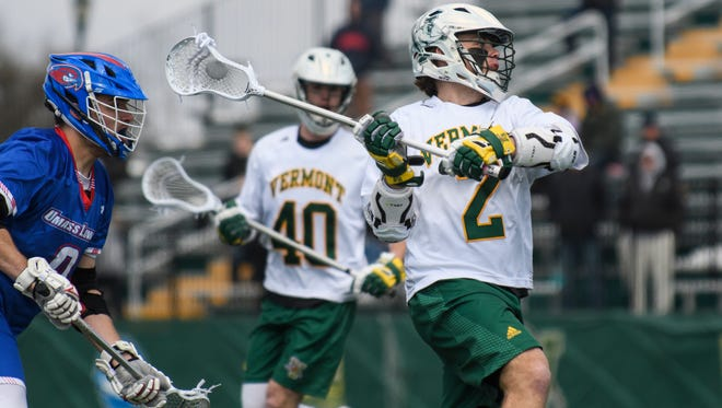 Vermont's Jack Knight (2) shoots the ball during the men's lacrosse game between there UMass Lowell Riverhawks and the Vermont Catamounts at Virtue Field on Saturday afternoon April 7, 2018 in Burlington. (BRIAN JENKINS/for the FREE PRESS)