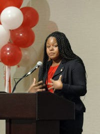 Olivia Sedwick speaks at the Chancellor's Champagne Brunch at Winston-Salem University.