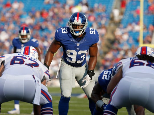 B.J. Goodson (93) prepares for the snap during the second half of the New York Giants' preseason game against the Buffalo Bills on Aug. 20, 2016.