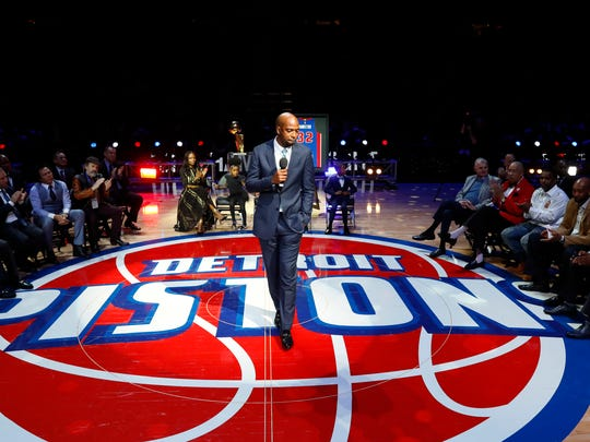 Former Pistons player Richard Hamilton speaks during