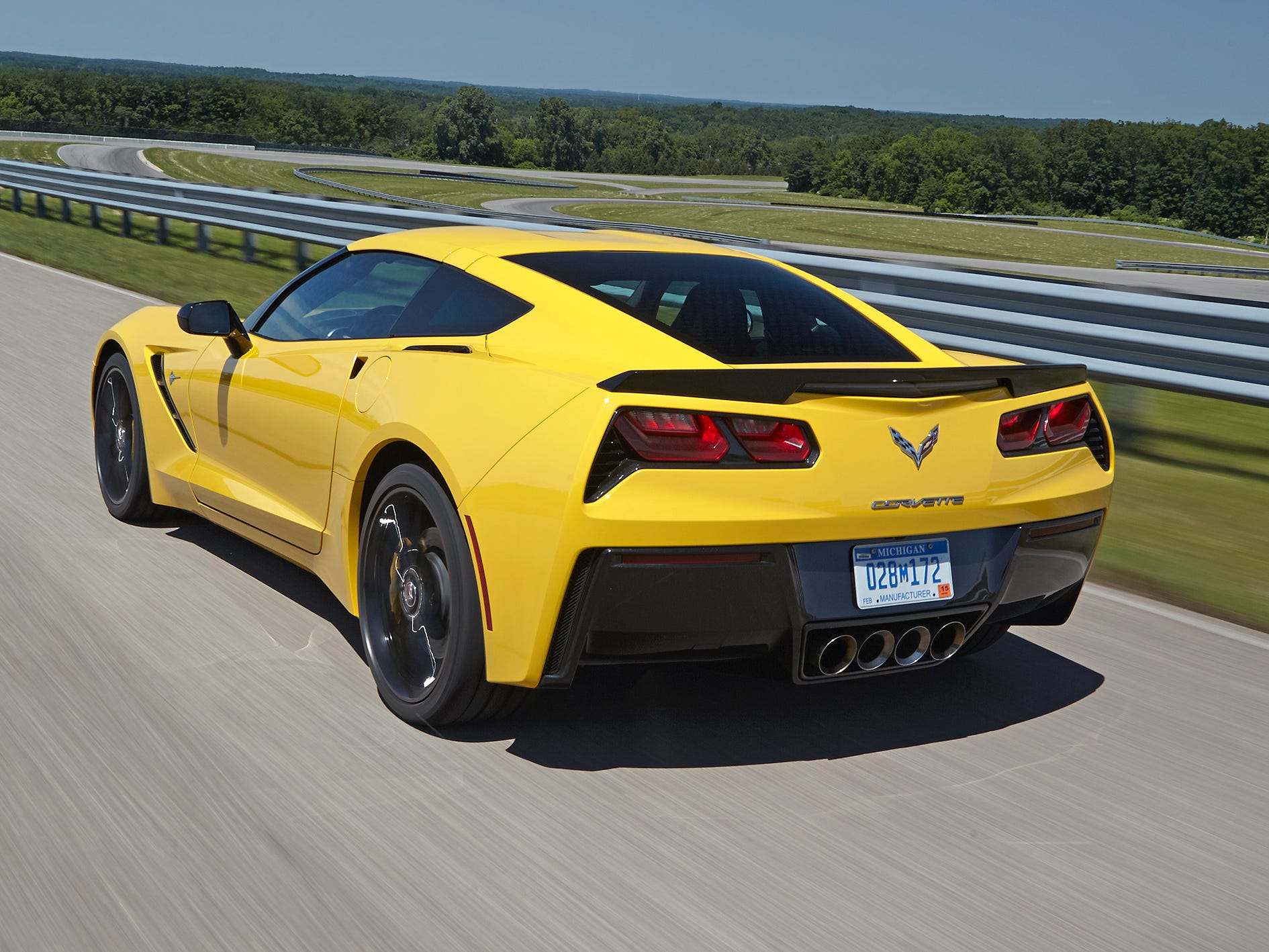 Chevy says the 2014 Corvette Stingray with optional Z51 performance package, will go 0 to 60 mph in 3.8 seconds, brake from 60 to 0 in 107 feet.