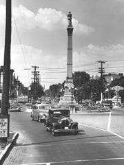 The Confederate monument is seen at Third Street and