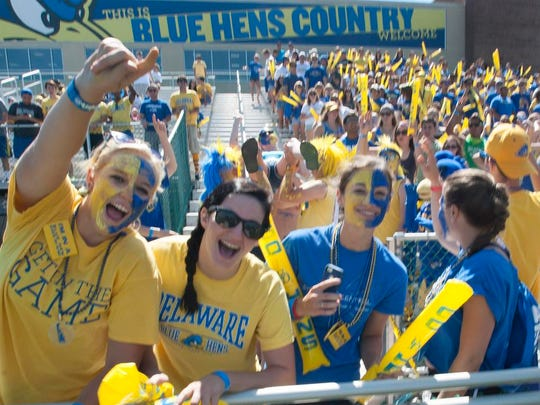 The University of Delaware student section was packed during a game with Delaware State University.