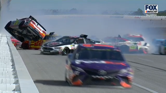 Denny Hamlin explains why racing at Talladega is uncontrollable