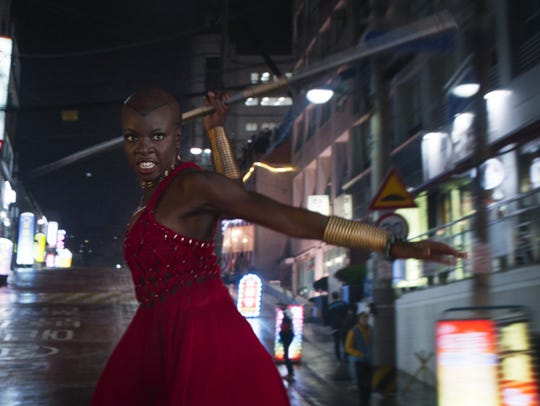 In a memorable scene, Okoye (Danai Gurira) gets rid