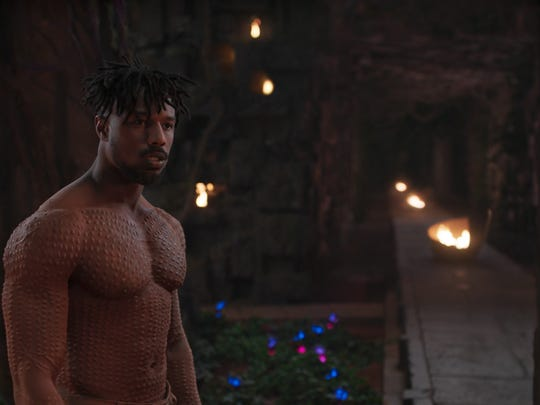 "Erik Killmonger, played by Michael B. Jordan, in a scene from Marvel Studios' ""Black Panther."""