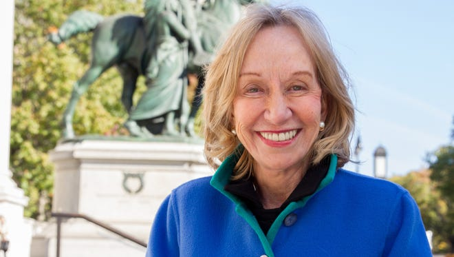 Historian Doris Kearns Goodwin outside of the Museum of Natural History in New York City, by the Teddy Roosevelt statue.