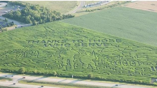 The Farmer J's World Record Corn Maze located just west of US-23 in Dundee has a patriotic salute to the U.S. Armed Forces as designed by the Jaworski Farmily that owns it.