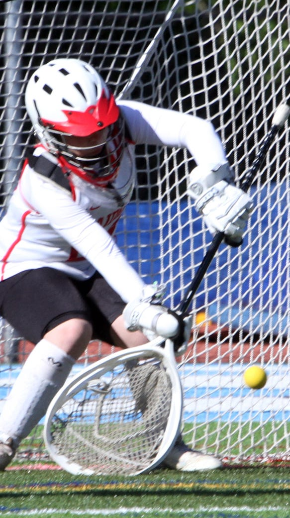 Caitlyn Lynch of North Rockland makes a save during
