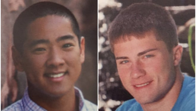 Photos of Charlie Tan and Whitney Knickerbocker in the Pittsford Mendon High School yearbooks from 2013 and 2014, respectively.