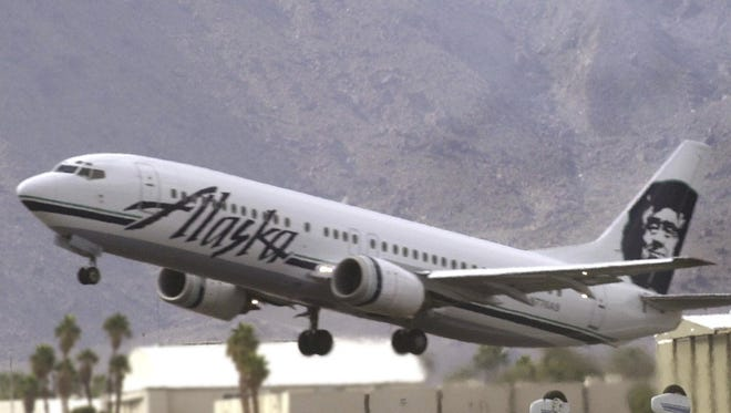 An Alaska Air flight takes off from Palm Springs International Airport. The carrier serves key markets in the Pacific Northwest like Portland, Ore. and Seattle.