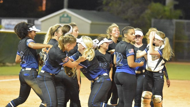 In this photo from last season, Park Vista players celebrates their 6-0 win over  Jupiter. The Cobras won't have a chance to defend their state title after FHSAA canceled the remainder of the spring season.