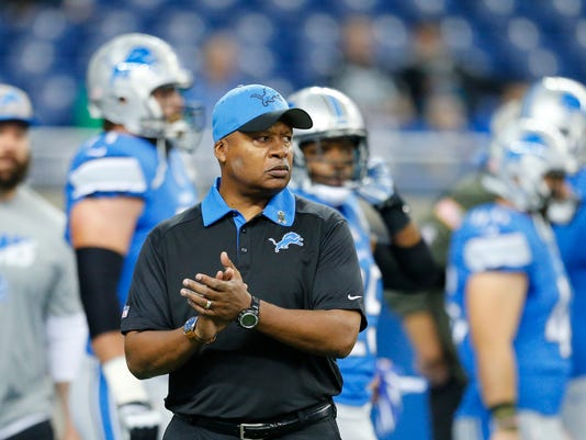 FILE - In this Nov. 22, 2015, file photo, Detroit Lions coach Jim Caldwell walks on the field before the team's NFL football game against the Oakland Raiders in Detroit. The Lions have the 16th pick in the first round in next week's NFL draft in Chicago. (AP Photo/Rick Osentoski, File)