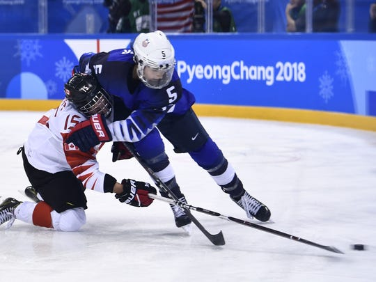 Canada's Melodie Daoust and USA's Megan Keller clash during the gold medal game at the Pyeongchang 2018 Winter Olympic Games at the Gangneung Hockey Centre in Gangneung on Feb. 22, 2018.