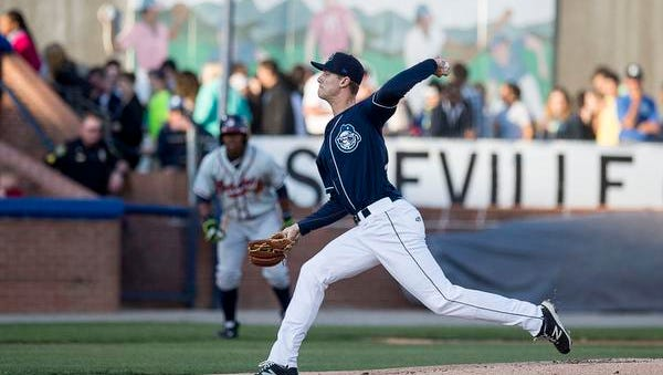Jack Wynkoop threw six innings for the Asheville Tourists against Rome on Thursday.