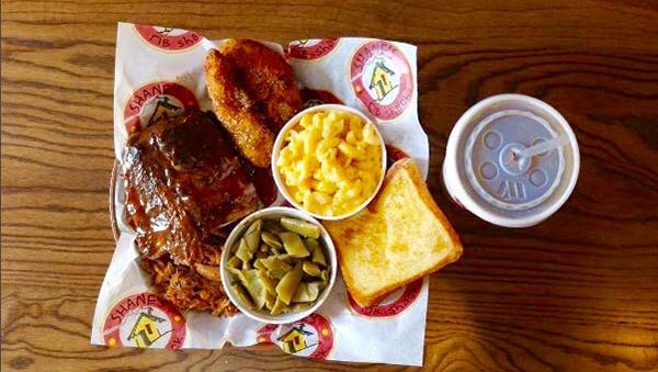 The build-your-own combination plate at Shane's Rib Shack.