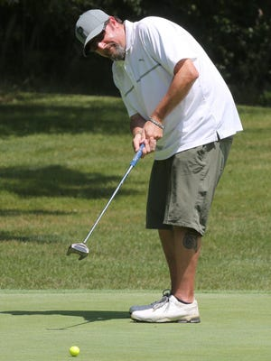 Kevin Kraft putts on the fifth green during the Tigertown Open at the Elms Country Club on Friday, July 17, 2020.