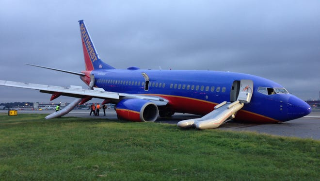 This image from the NTSB shows Southwest Flight 345 after its nose-first landing at New York LaGuardia on July 22, 2013.