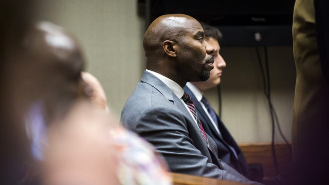 Mateen Cleaves listens to Genesee District Judge M. Cathy Dowd during the first day of preliminary examination of Cleaves on Tuesday, Nov. 15, 2016, at Genesee District Court in downtown Flint, Mich.