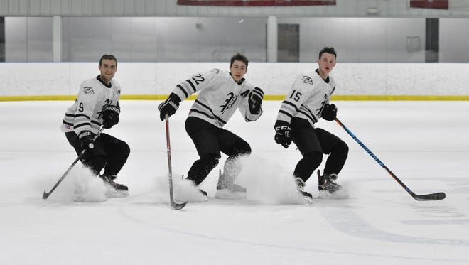 Plymouth's top forward line of (from left) Jack Chumley, Tim Baldwin and C.J. Mullenax is instrumental in sparking the Wildcats' recent surge to the top of the Division 2 rankings.