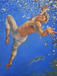 """Icarus,"" an oil-on-canvas work by WanChuan Kesler,"