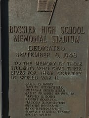 The plaque at Bossier High's stadium.