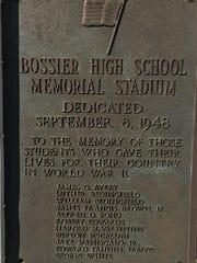 The plaque at Bossier High's stadium.
