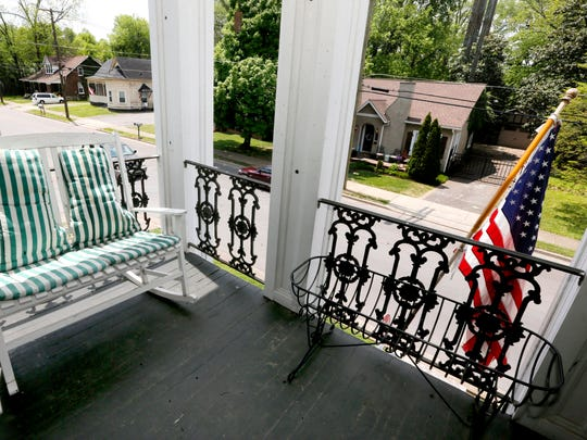 The balcony at the home of Deborah L. Wagnon. The Collier-Lane-Crichlow historic house has been the home of 5 mayors over the years. Photo taken on Wednesday, May 2, 2018.