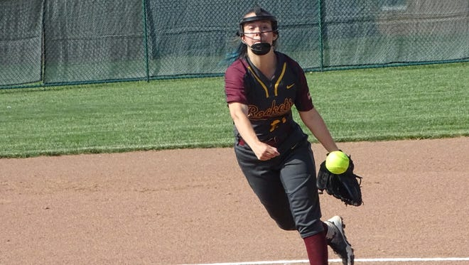Berne Union senior Casie Woodgeard pitches Monday during a Division IV district semifinal against Newark Catholic.