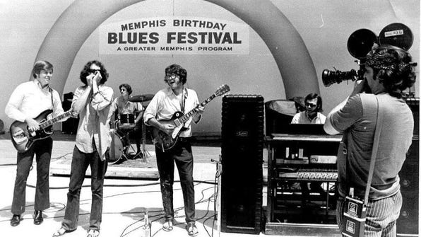 The Commercial Appeal file photo Lee Baker (right) and Moloch perform in 1969 at the Memphis Country Blues Festival at the Overton Park Shell, an event that is the focus of a documentary to be screened at 7 p.m. Thursday at what is now called the Levitt Shell.