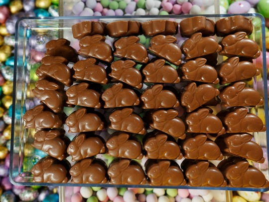 Caramel-filled bunnies are ready to spring into Easter baskets at Chocolate Storybook in West Des Moines.