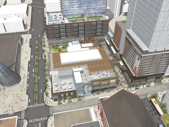 An aerial view of the Fifth + Broadway mixed-use project.