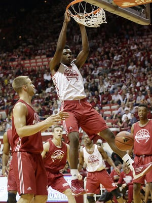 FILE --- Indiana center Thomas Bryant (31) throws down a dunk in a scrimmage during IU's Hoosier Hysteria on Saturday, Oct. 24, 2015, at Assembly Hall in Bloomington. (James Brosher / For The Star)