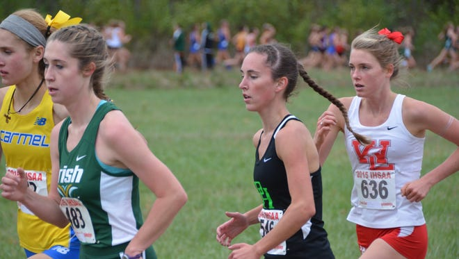 West Lafayette's Lauren Johnson runs with the lead pack in Saturday's IHSAA state finals.
