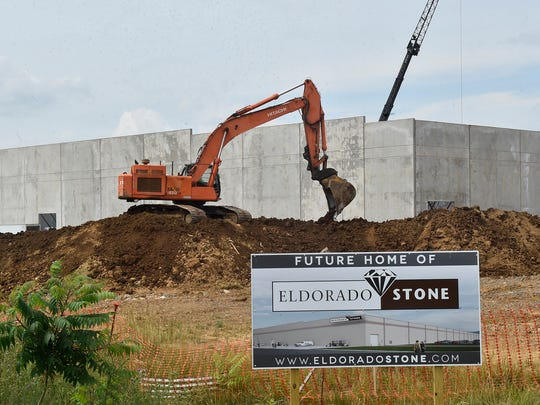 Warehousing figures to be a large part of Franklin County's future. Pictured on June 22, Eldorado Stone is under construction at Antrim Commons Business Park.