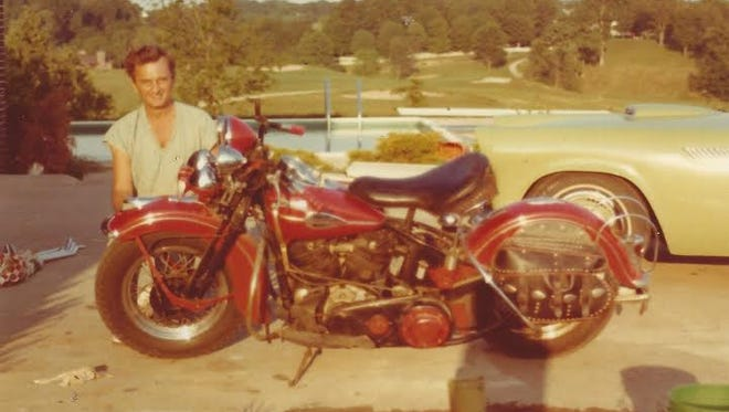 Dr. George Renaker circa 1972 with his 1942 F Harley Davidson motorcycle.