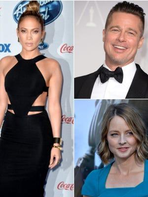 Jennifer Lopez, Brad Pitt, and Jodie Foster.